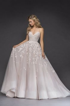 Romantic Floral Light Pink Wedding Dress adf17b70589f