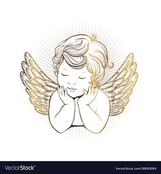 Cute little angel with closed eyes with wings vector image on VectorStock Angel Vector, Owl Vector, Vector Art, Angel Images, Angel Pictures, Free Pictures, Angel Silhouette, Silhouette Vector, Angel Wings Drawing