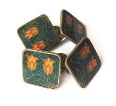 Doppelte Manschettenknöpfe m. Fenster-Emaille, Lilien, Art Déco - Vintage Cufflinks