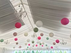 Wedding Marquee Decor 40 cream, lace, sage green, cerise pink, latte Paper Lanterns Paper Lanterns, Decoration, Big Day, Triangle, Flowers, Pink, Cherry, Lace Up, Decor