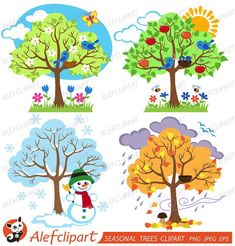Items similar to Four Seasons Trees Clipart Seasonal Trees and Birds Clipart Clip Art Vectors - Commercial and Personal Use on Etsy Vogel Clipart, Bird Clipart, Tree Clipart, Four Seasons Art, Seasons Lessons, Winter Trees, Circle Time, Crafts For Kids, Original Art