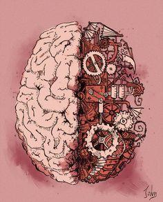 Steampunk Brain by BenJogan Brain Drawing, Brain Art, The Brain, Brain Painting, Human Heart Tattoo, Steampunk Kunst, Steampunk Drawing, Brain Illustration, Medical Art