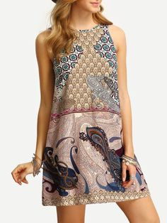 15acb300137 Shop Vintage Print V Back Tank Dress online. SheIn offers Vintage Print V  Back Tank Dress   more to fit your fashionable needs.