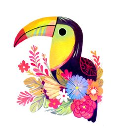 Toucan Art Print by Taylor Price - X-Small Art And Illustration, Illustrations, Tribal Tattoo Designs, Tattoo Designs And Meanings, Mermaid Drawings, Art Drawings, Angel Tattoo For Women, Engel Tattoos, Front Shoulder Tattoos