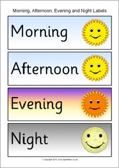 Morning, afternoon, evening and night word labels (SB10153) - SparkleBox