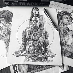 #Art #Sketch #Drawing #Illustration #Pen #Ink  #African #Man #Woman #Afro #King…