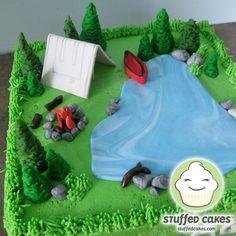 campfire, tent, cake