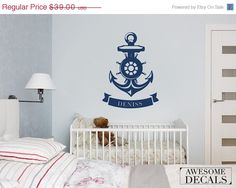"""10% DISCOUNT ON Nautical wall decal - Name wall decal - Nursery wall decal - 20""""x 26"""" - 048"""
