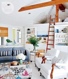 This very nautical beachfront bungalow is making us want to make summer last a little longer #decor #inspiration