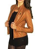 Faux Leather Moto Jacket - Chestnut Ed