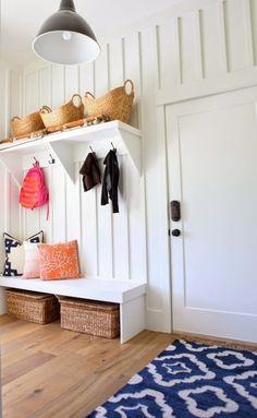 Mudroom Use original wood board for hi shelf and hooks below