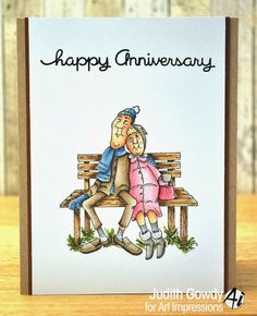 Fred and Mille Golden Oldies couple on a park bench from Art Impressions.  Anniversary card.