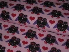 "Organic stretch jersey ""Wonder Owl""  with sweet owls in black-red-purple on rose background    Design Janeas World, all rights reserbed"