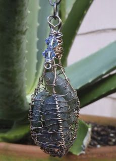 Caged VIntage Sea Glass with Blue Swarovski Crystals  Pendant, view 2 - Vintage Crab Jewelry