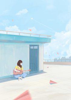 Anime Scenery Wallpaper, Cute Wallpaper Backgrounds, Cute Cartoon Wallpapers, Wallpaper Aesthetic, Aesthetic Art, Aesthetic Anime, Colorful Drawings, Art Drawings, Aesthetic Grunge Tumblr