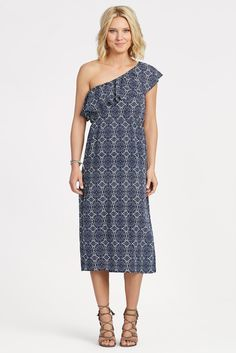 ALLISON JOY Eva One Shoulder Midi Dress