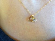 Disc Initial Necklace in 14K Gold Filled with Diamond Solitaire Charm, Jewelry Gift For Her