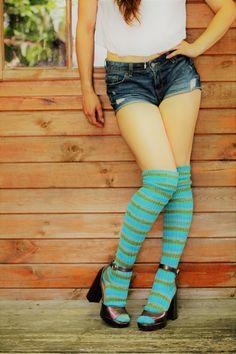 d3f2241b570 Striped Ocean coloured Knee Socks - GREEN Winter Wool stockings - Over the  Knee LOLITA Socks - Ribbed Wool Grunge Girl Steampunk - Plus Size