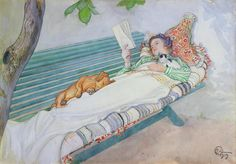 칼 라르손의 누워있는 여자. 이 그림을 알게 되서 정말 좋아.
