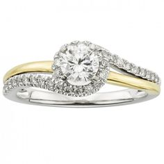 Looking for a special and unique halo style engagement ring? This 3/4ct Two Tone Round Cut Certified Diamond Swirl Halo Engagement Ring in 14K Gold from Felt Noir is the perfect fit! Available in sizes 5 through 9 (half sizes available). Repin to your own wedding inspiration board.