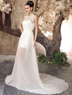 Vestido de novia de chifón de color marfil con escote redondo para playas-No.4