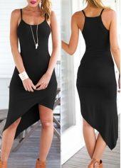 Strap Design Solid Black Asymmetric Dress | modlily.com