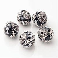 5 шт. jewelry браслет DIY бусы ручной работы, Бисер Индонезия, с сплава ядер, Круглые, черный 15x15x15 мм, отверстие: 2 мм