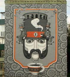 Vue rapprochée sur la peinture murale réalisée par l'artiste Kislow à Vyksa en Russie. © Kislow