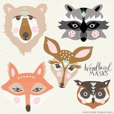 printable woodland masks - fox, bear, doe, raccoon and owl!