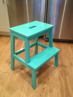 Teal painted Ikea Bekvam stool - Storefront Life