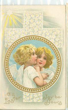 Easter Angels Vintage Postcard