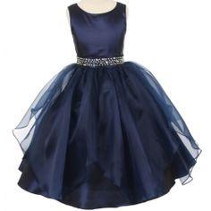Cora - Satin Organza Rhinestone Flower Girl Dress in Navy