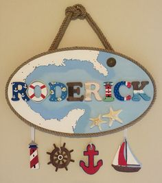 Name sign custom made Wooden Plaque, wood letters Acrylic paint. Nautical theme for boys room Nautical Names, Nautical Theme, Kids Bedroom Boys, Boy Room, Big Letters, Wood Letters, Name Plaques, Wooden Plaques, Children Crafts