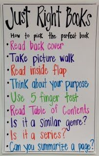 Just Right Books {Anchor Chart} | Mrs. Whalen's Classroom