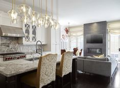 Keeping things light and airy and colourful. Eclectic Design, Contemporary Interior Design, Toronto, Bright Pillows, Kitchen Family Rooms, Open Concept Kitchen, Kitchen Cabinetry, Interiores Design, Architecture Details