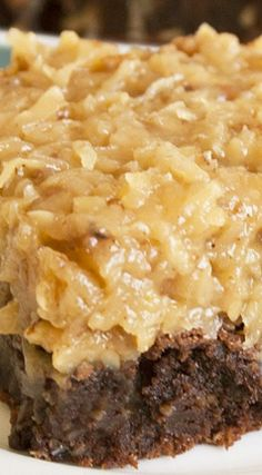 Over the Top German Chocolate Brownies. Possibly the best brownies I've ever made! Fun Desserts, Delicious Desserts, Dessert Recipes, Frosting Recipes, Eat Dessert First, Dessert Bars, Brownie Recipes, Cookie Recipes, Bread Recipes