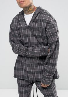Reclaimed Vintage Inspired Oversized Overhead Shirt With Hood from ASOS (ad, men, style, fashion, clothing, shopping, recommendations, stylish, menswear, male, streetstyle, inspo, outfit, fall, winter, spring, summer, personal)