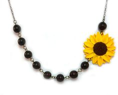 Asymmetrical Sunflower Necklace : Yellow Flower Beaded Necklace