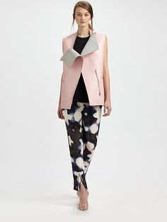 Phillip Lim Sleeveless Leather Jacket Womens Shell Pink Outerwear Clothes Coat