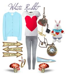 White Rabbit Disneybound Featuring my White Rabbit Necklace by bijouxetsoirees on Polyvore featuring Jardin des Orangers, Love Moschino, J Brand, Tabitha Simmons and FOSSIL