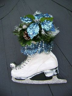 Vintage Ice Skate Embellished Floral Arrangement, Front Door Decor, Winter Wedding, Sparkles Glitz, Silver Blue Ice Chic, Wreath Alternative...