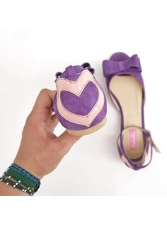 Balerini Hearts with bow(Lunar Collection)    heart flats, Pantofica.ro, mauve