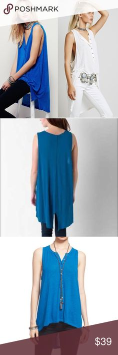 Free People Union Henley tank in Sapphire Gorgeous hi-lo sapphire blue tank from Free People featuring a button up v neckline with raw hem edges. Size XS relaxed fit. This tank is in perfect condition. Make an offer Free People Tops Tank Tops