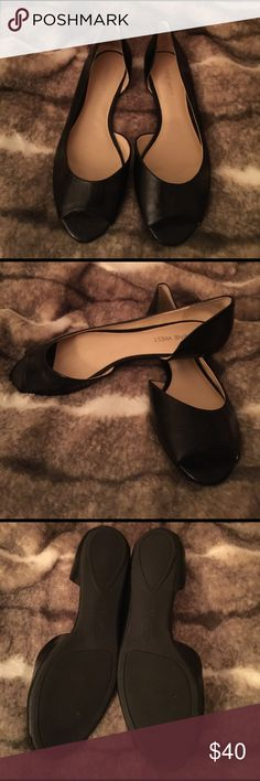 Nine West Peep Toe Flats Leather peep toe flats. Basically brand new, worn for under 3 hours. They are unfortunately just too small for me.  Excellent quality! Nine West Shoes Flats & Loafers