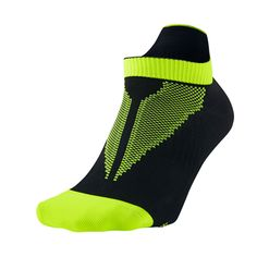 New Nike Elite Lightweight Running Socks Men's Shoe Size 6-7.5 Black Neon Yellow #Nike #Athletic