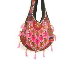 Bolso Boho Chic rosa, bolso fiesta, bolso bordado a mano en patchwork , con antiguas telas de la India y Pakistán.