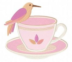 Hummingbird-in-Peach-Teacup-Applique-5×7