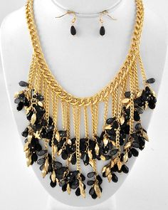 Gold Tone / Black & Black Dia Acrylic / Gold Ccb (bead) / Lead Compliant / Cluster Necklace & Fish Hook Earring Set