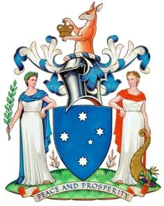 The coat of arms for Victoria or VIC is of the Australian States and Territories coats of arms for the country of Australia with the capital city of Melbourne. Medieval, Victorian Coat, Australian Plants, Australia Map, Family Crest, Crests, Coat Of Arms, Badge, European History