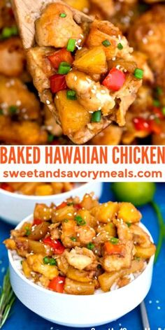 Healthier Hawaiian Chicken made with baked pineapple and bell pepper is a light and hearty meal! #sweetandsavorymeals #chicken #hawaiianchicken #bakedhawaiianchicken Duck Recipes, Turkey Recipes, Asian Recipes, Dinner Recipes, Cake Recipes, Yummy Chicken Recipes, Yum Yum Chicken, Yummy Food, Sweet Recipes